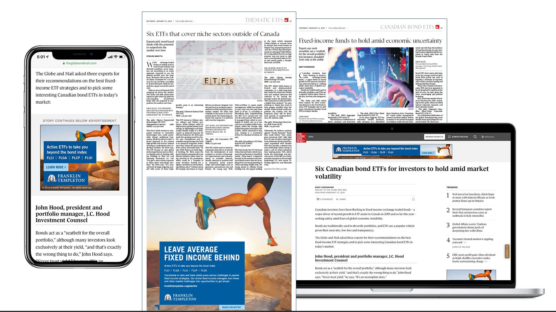 Globe ETFs monthly special reports in digital and print 12x per year