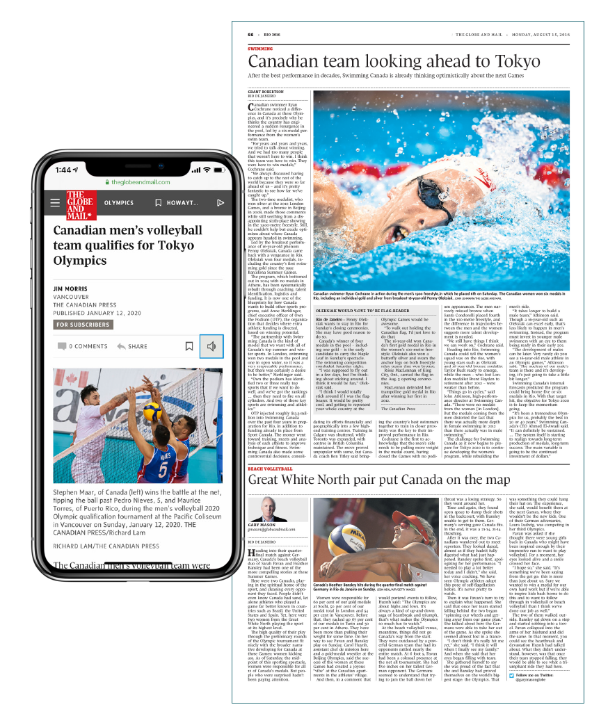 The Globe and Mail Tokyo 2020 Summer Olympic Games sponsorships