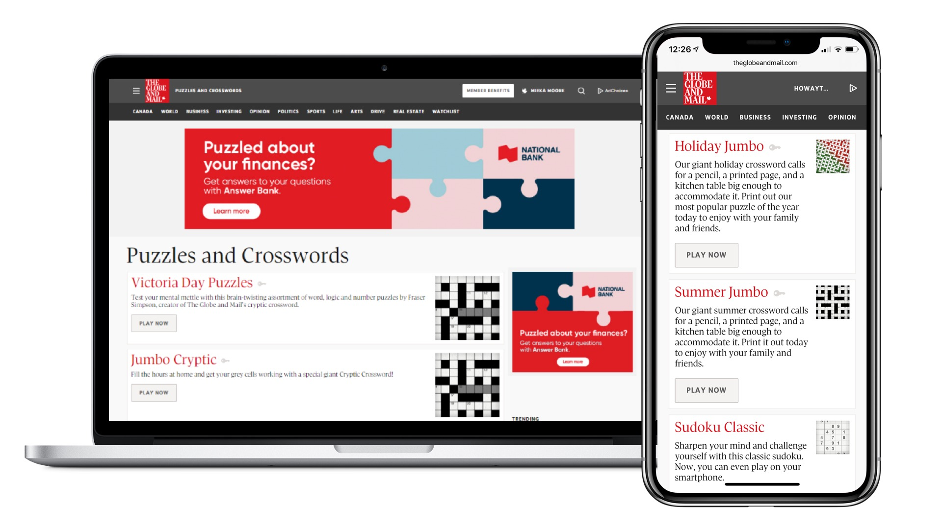 Diversions digital Puzzles, Games and Crossword Sponsorship - Canada Day