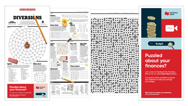 Diversions newspaper section - Puzzles, Games and Crossword Sponsorship - Canada Day