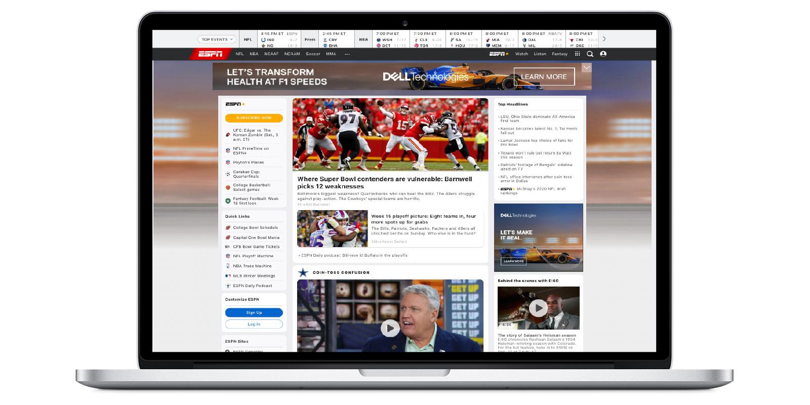 High impact ESPN ad formats include Wallpaper