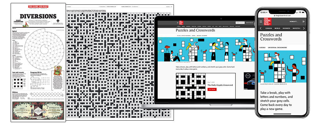 The Globe's Diversions puzzles and games sponsorship in print and digital platforms