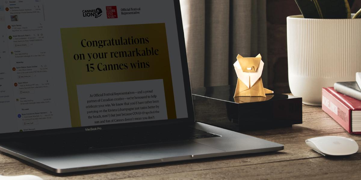 Cannes Origami Lion on desk